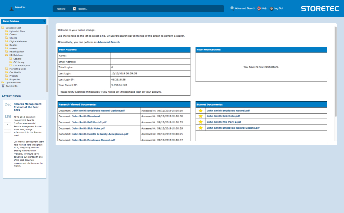 desktop screenshot of FreeDocs cloud based document management system